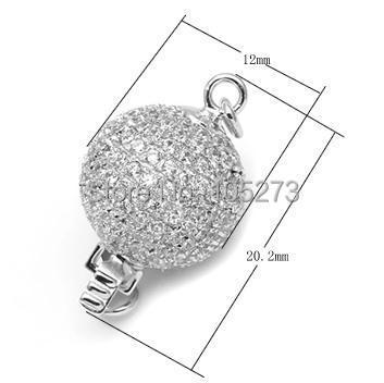 Rond avec fermoir en zirconium 925 argent, 12mm bricolage collier en cristal de perle naturelle de haute qualité, fermoir bracelet. -L56C