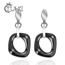 New 2019 Trendy Jewelry Lady Earrings Punk Style Black White Colors Geometric Ceramic Stud Best Gift for Women Girl