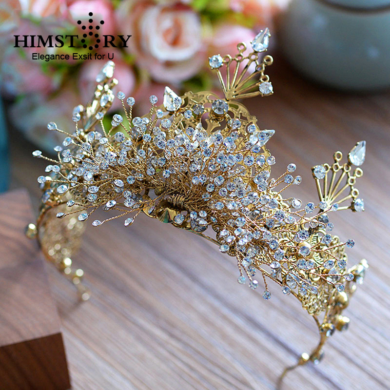 HIMSTORY Super Luxurious Handmade Gold Crystal Baroque Wedding Tiara Crown Bridal Queen Princess Crown Hair Accessories vintage gold round crystal tiara baroque rhinestones princess queen crown for bride hair accessories wedding crown hair jewelry
