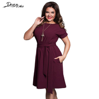 Women Casual Loose Summer Plus Size Dress Brief Solid Color Belted Large Size Dress Wear To