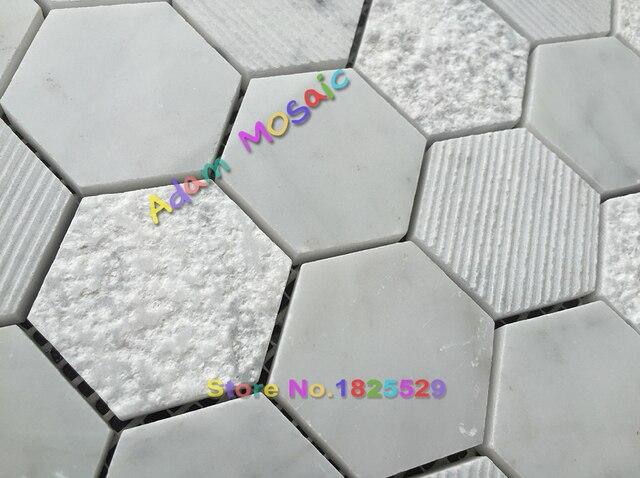 Hexagon Tegels Badkamer : Hexagon wit mozaïektegels decoratieve muur steen marmeren tegel