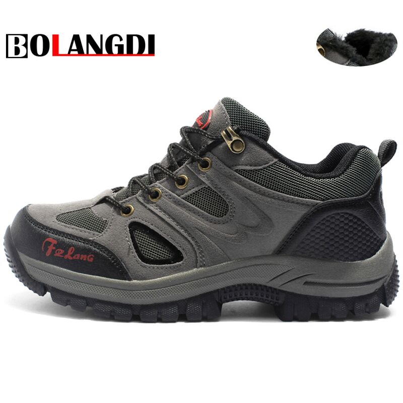 Bolangdi Autumn Winter Plush Warm Men Women Hiking Shoes Mens Outdoor Sneakers Rubber Trekking Boots Lace Up Men Climbing Shoes