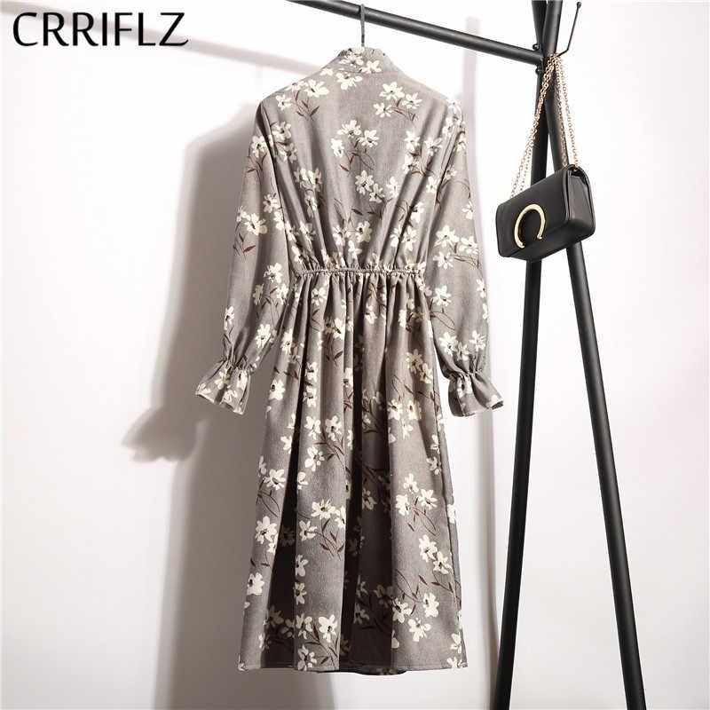 Новинка 2019, вельветовое винтажное платье с высокой эластичной резинкой на талии, ТРАПЕЦИЕВИДНОЕ женское платье с длинным рукавом и цветочным принтом, облегающее платье с принтом, Feminino CRRIFLZ