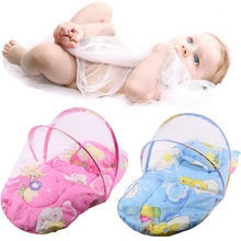 Pink/Blue Baby Mosquito Insect Net  Cradle Foldable Portable Baby Infant Bed Canopy Cotton-padded Mattress Net With Pillow