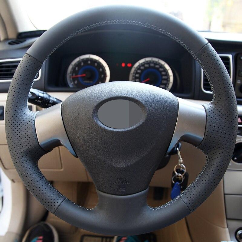 GNUPME Artificial Mão-Costurado Preto Tampa Da Roda de Direcção Do Carro de Couro para Toyota Corolla 2006-2010 Matrix 2009 Auris 2007-2009