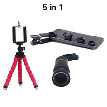 Univesal New 5in1 8X Zoom Phone Camera Lens Telescope with Flexible Tripod 3in1 lens Fisheye Lens