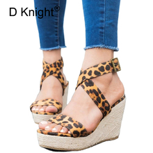 Leopard Wedge Sandals Summer Peep Toe Flock Buckle Strap Women Platform Espadrilles Sandal Plus Size 43 High Heels Shoes Female все цены
