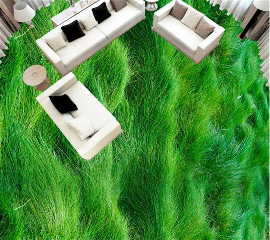 Custom Photo 3d Flooring Wallpaper Modern Grass Green Plants PVC Wallpaper Self-adhesive Flooring Wallpaper-3d Beibehang Murals