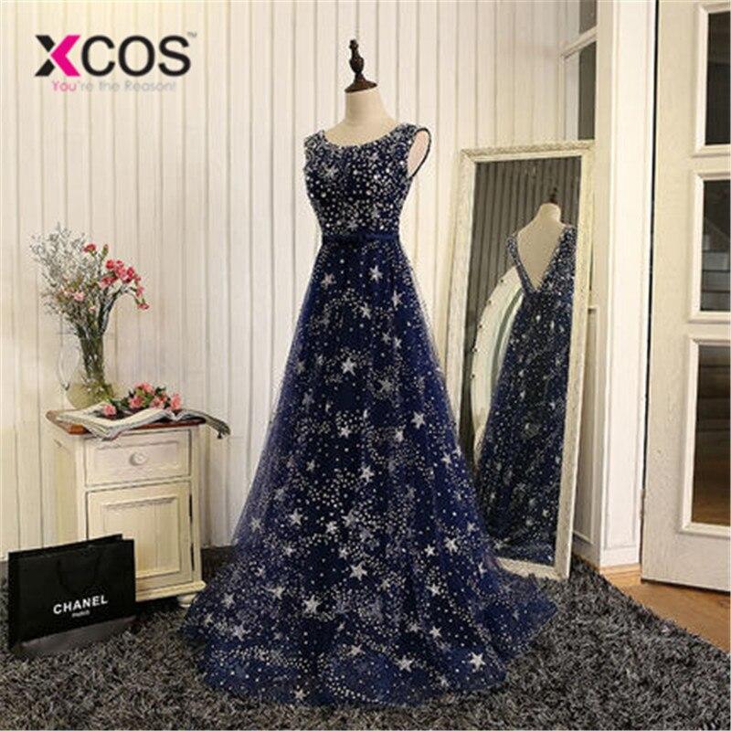 XCOS élégant Bling Bling argent perles prêt à expédier Stock robe longue bleu marine robe de bal longues robes de soirée 2018 nouveauté