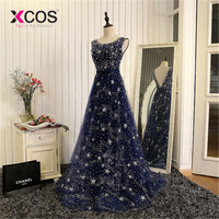 XCOS Elegant Bling Bling Silver Beading Ready To Ship Stock Dress Long Navy Blue Prom Dress Long Evening Gowns 2018 New Arrival