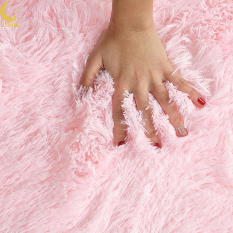OCHINE Diameter 80cm Home Bedroom Living Room Non-Slip Carpet Mat Plush Shaggy Soft Round Carpet Floor Rug Yoga Seat Mat