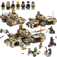 mylb New Military World Army Forces Track Tank Bricks WW2 M1A2 Deformation Tank Building Blocks Toys Gift For children no box