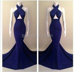 Сексуальные платья для выпускного бала, Роскошные платья длиной до пола с лямкой на шее, синее вечернее платье Русалочки, реальные образцы, ...