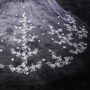 Image 5 - ใหม่ร้อน velos de novia 3 เมตร 2T White & Ivory Lace Appliques Rhinstones Purfle ยาวแต่งงาน Wedding Veils หวี
