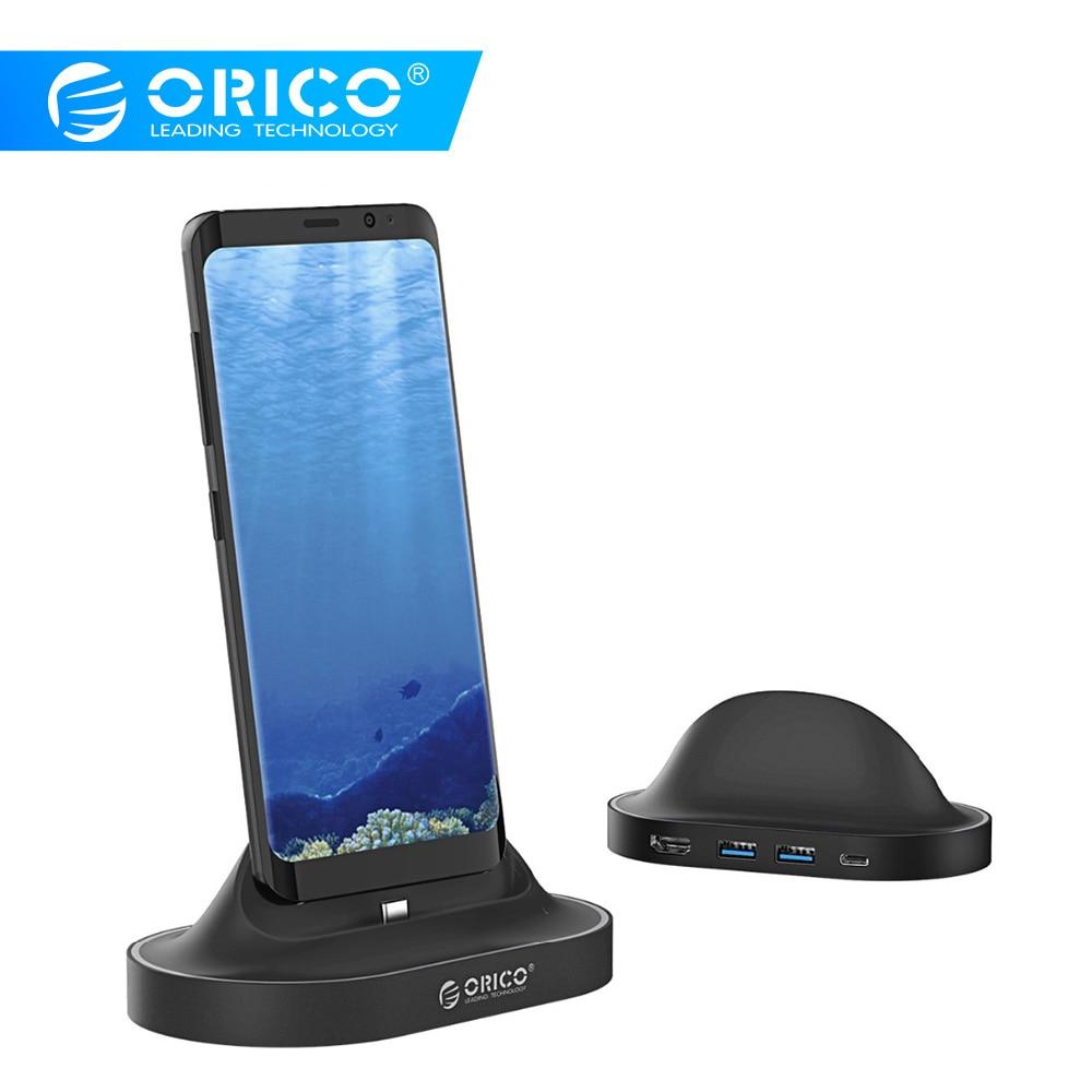 ORICO Tipo-C Docking Station com Suporte Do Telefone USB Para HDMI C USB3.0 60 W PD USB3.0 de Carregamento HUB para HUAWEI Mate10, samsung S8