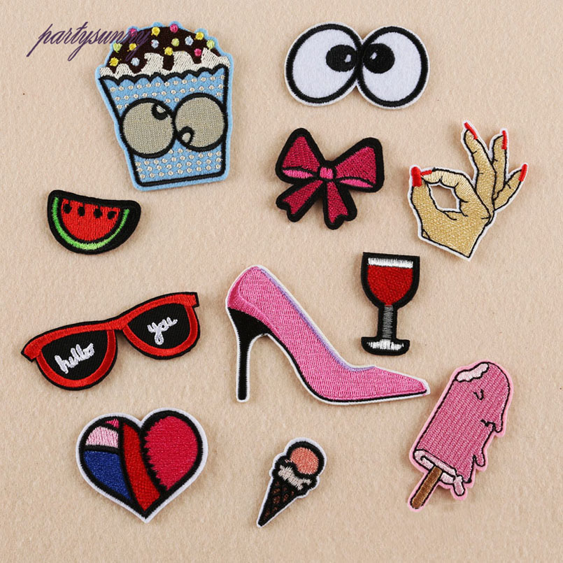 Glasses High Heels Embroidery Patches Love OK Gesture DIY Stripes Patch Iron on Clothing Jacket Hat Bag Applique Crafts TB049