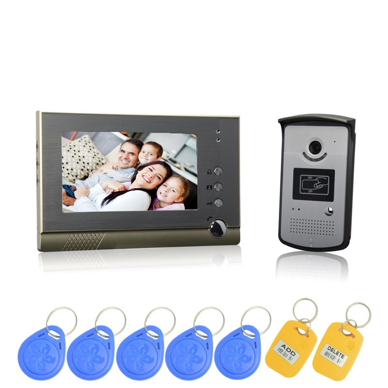 (1 Set) Free Shipping 7 Inch Colorful Display Aluminium Case One To One Video Door Phone System RFID Card Unlock