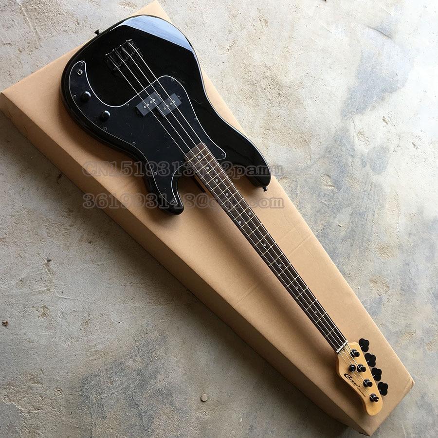 Black Career Electric Bass Guitar 4 Strings Rosewood Fingerboard Black Parts China Custom In Stock Guitar