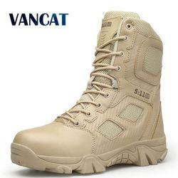 Vancat Big Size 39-47  Desert Tactical Mens Boots Wear-resisting Army Boots Men Waterproof Outdoor Hiking Men Combat Ankle Boots