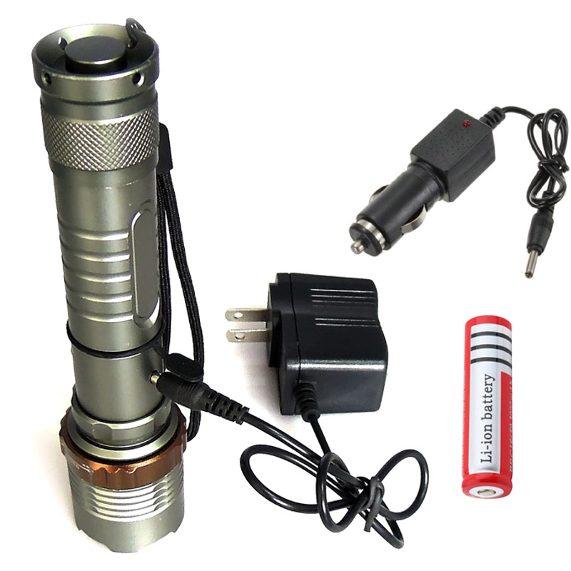 5 modes T6 LED Flashlight Rechargeab CREE XML Zoomable 3800LM Tactical Torch Waterproof Lamp  + 18650 battery AC/Car charger 5mode led flashlight cree xml t6 tactical lamp with clip 18650 rechargeable battery eu us ac car charger bicycle torch holder
