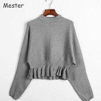 אירופאי אופנה נשים לפרוע קצר סוודר רופף בסוודרים סרוגים גבירותיי סוודרים קצרים שרוול עטלף אלגנטי מוצק Peplum למעלה