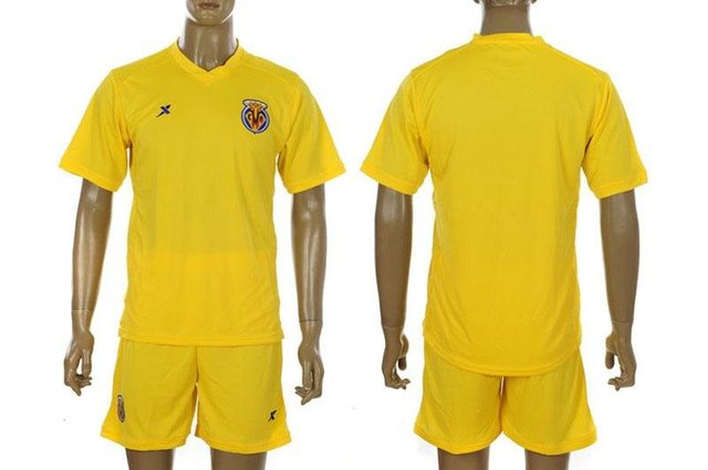 11-12 Villarreal CF home Soccer Jersey with Shorts.embroidery Lille football uniform,free shipping