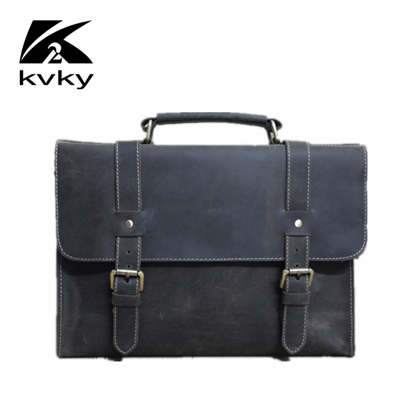 KVKY Business Genuine Leather Men's Handbags Vintage Crazy Horse Men Messenger Bag Casual  Travel Bags Tote Laptop Briefcase Bag crazy horse genuine leather bag men vintage messenger bags casual totes business shoulder crossbody bags men s travel handbags