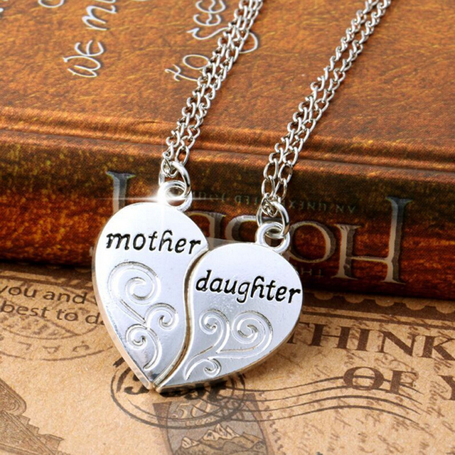 2pc silver plated mother daughter necklace silver heart love mom 2pc silver plated mother daughter necklace silver heart love mom necklaces 50cm pendants 2cm for aloadofball Image collections