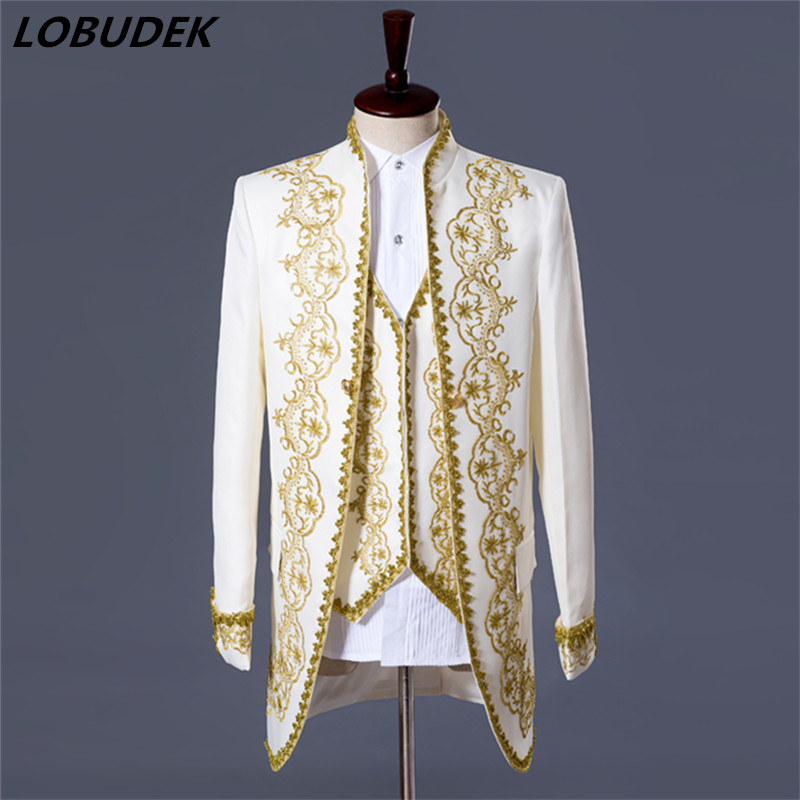 Men Wedding Suit Jacket Pants vest white black Vogue Palace style Gold embroidery men Tuxedos Classic