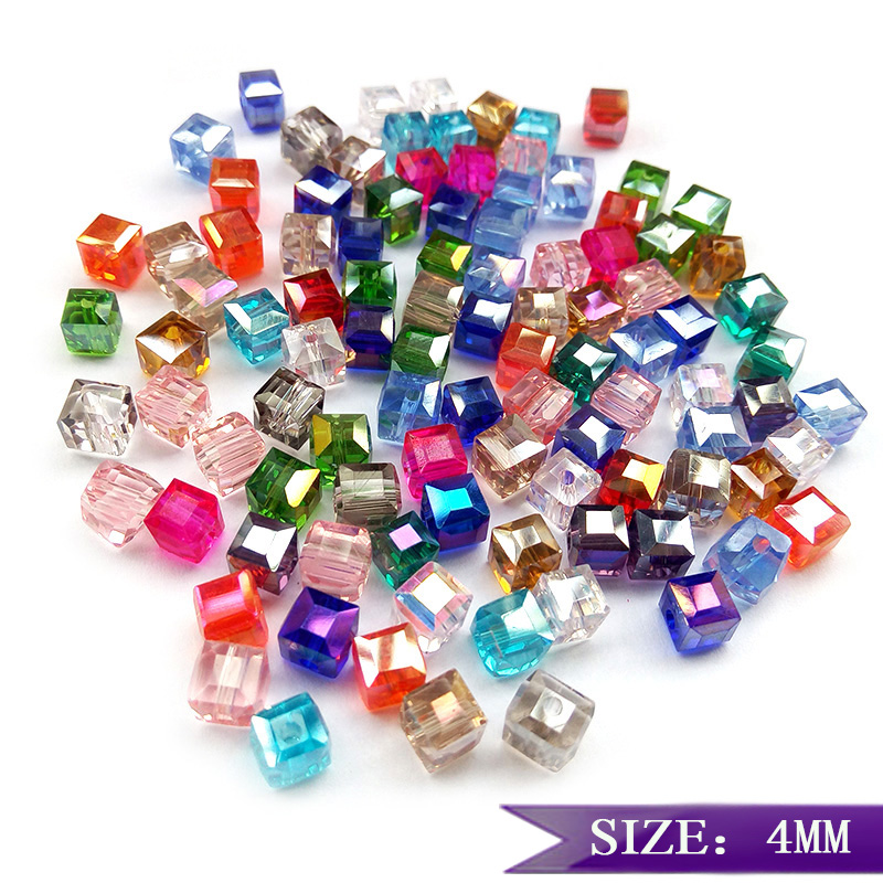 High quality 4mm 100pcs Square shape Upscale Austrian crystal beads loose bead quadrate  ...