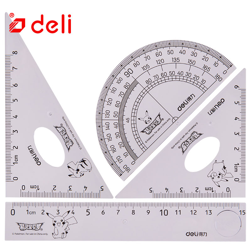 Deli 4pcs Ruler Sets School Supplies Triangle Ruler Transparent Ruler/triangular/protractor Student Drawing Measuring Stationer
