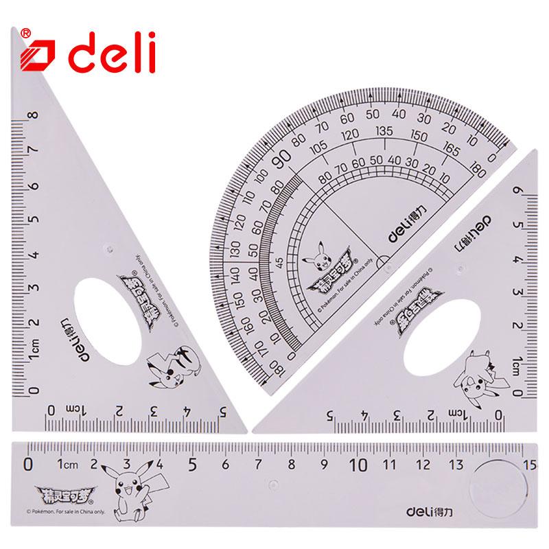 Deli 4pcs Ruler Sets School Supplies Triangle Ruler Transparent Ruler/triangular/protractor Student Drawing Measuring Stationer