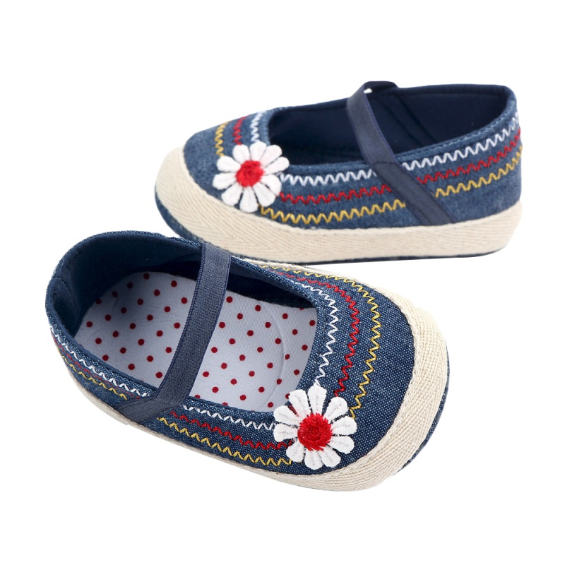 Newborn Cowboy Style Cute Baby Flower First Walkers Soft Bottom Indoor Floral Explosion Baby Girls Toddler Shoes