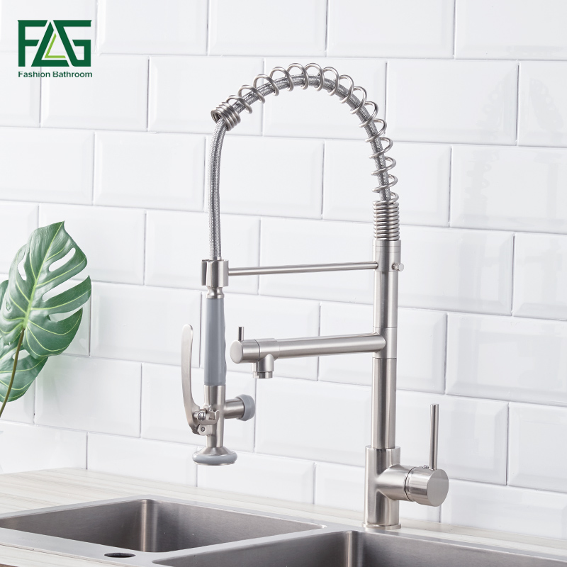 Kitchen Faucet Brushed Nickel Faucet for Kitchen With Pull Down Kitchen Mixer Pull Out 360 Swivel Single Lever Kitchen Tap полотенце махровое 70х140 см tac полотенце махровое 70х140 см
