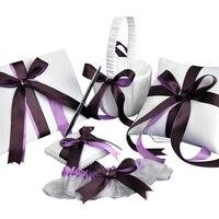 Roxo 5 pçs/set (livro de Visitas + Flor + Cesta de Suporte da Pena + Anel Travesseiro + Garter) de Cetim Feitas À Mão Fita de strass Decoração Fontes Do Casamento