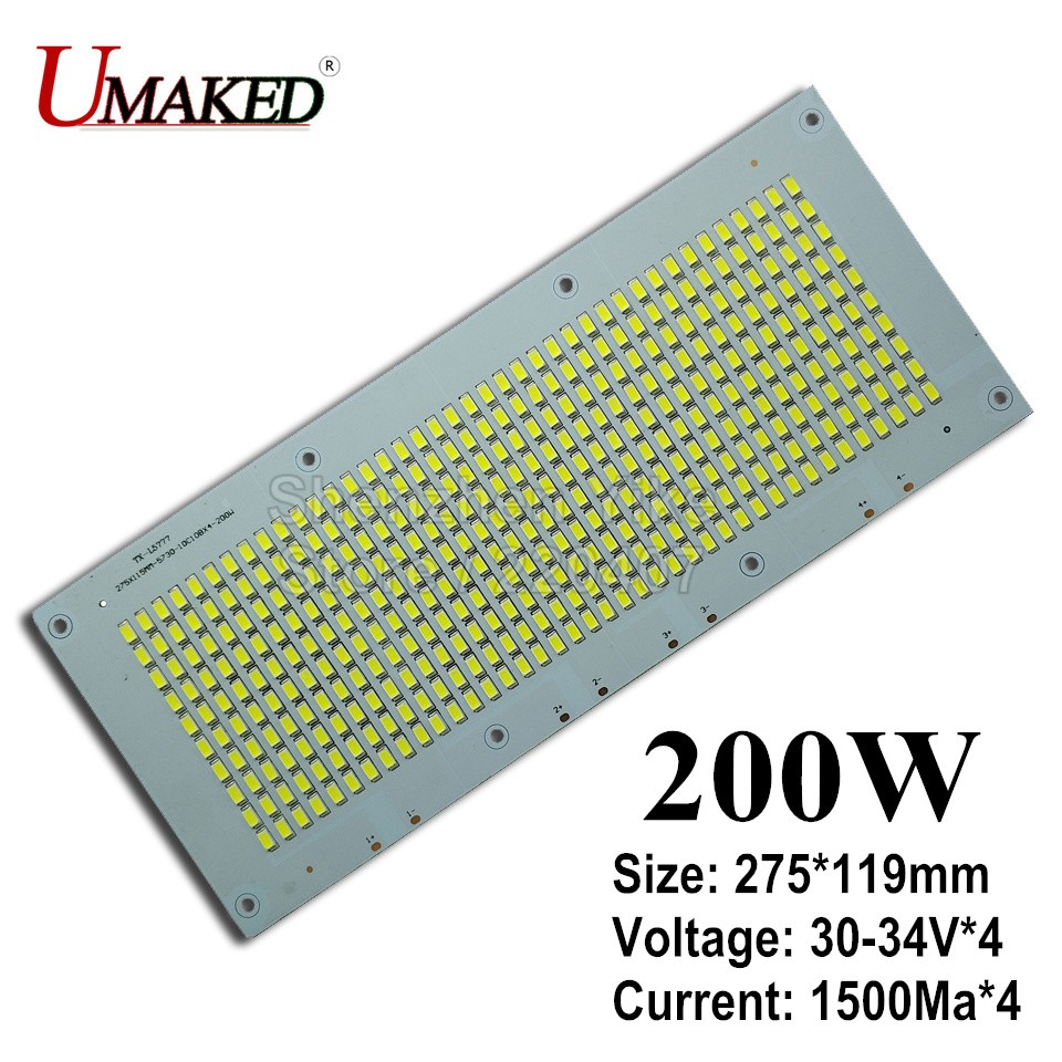 200W 20000lm led Floodlight PCB with SMD5730 275x119mm led pcb board,Aluminum plate base, led light source for floodlight 50w led pcb with smd5730 integrated ic driver aluminum plate free shipping