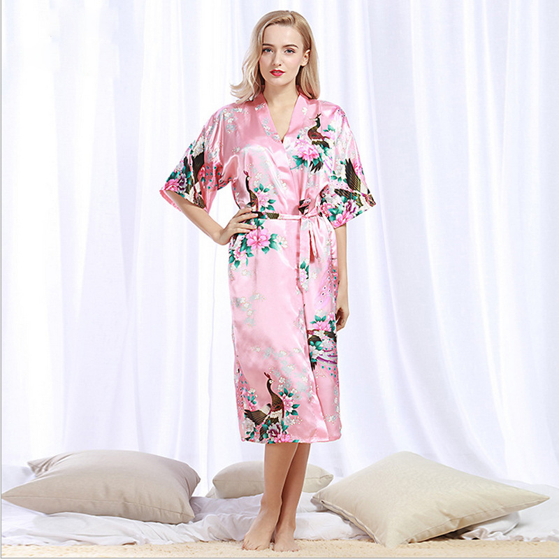 Bridesmaid Robes Peacock Print Nightwear Women Bathrobe Stain Silk Kimono Bath Robe