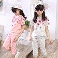 Venta al por menor de Las Niñas Adolescentes Ropa Set Otoño 2016 Niños Niñas Ropa Deportiva traje de flores de Manga corta Top & Pants 2 unids rosa sty515