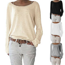 Plus Size Fashion Women Oversized Loose Long Sleeve T-Shirt Baggy Plus Tops Casual Solid T Shirt(China)