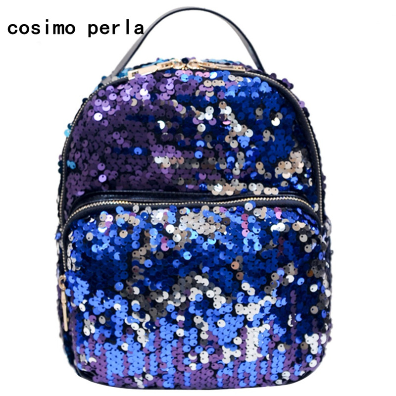 2a11ab28bd06 US $13.59 30% OFF|Bling Bling Sequins Mermaid Backpacks for Little Girls  Cute Gift Mini Travel Bag Small Women School Knapsack Magic Reversible-in  ...