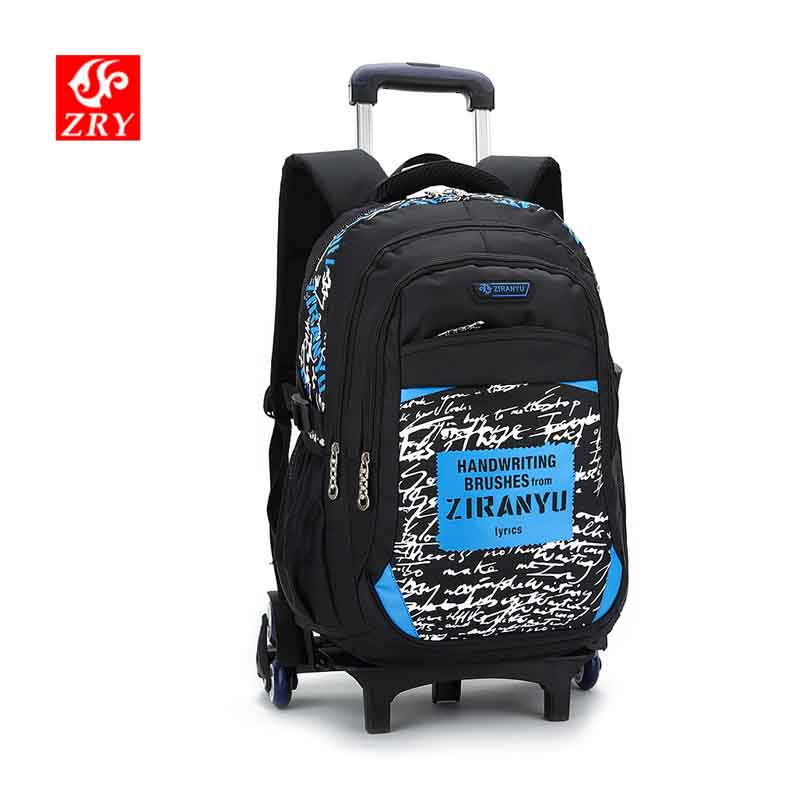 ZIRANYU Kids Rolling backpack with Wheels Wheeled Travel Trolley Backpack School Backpack for Boys Student School Trolley Bag
