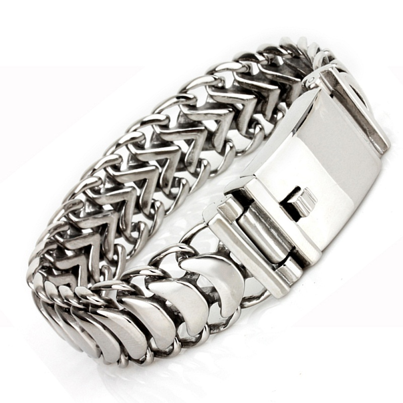 19mm Wide Masculine Style Stainless Steel Bracelet&Bangle Braid Link Silver Rock Punk Charm Bracelet For Men Fashion Jewelry fashion solid stainless steel braid leather bangle bracelet men jewelry page 4