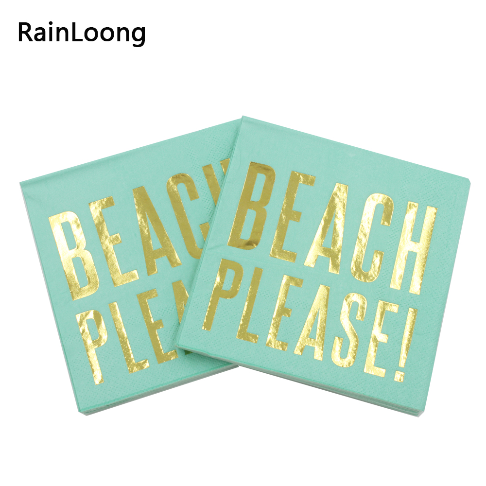 [RainLoong] 3Plys pijača zlata folija papirnati prtiček za plažo prosim Party tkivo prtički serviete decoupage 25cm * 25cm