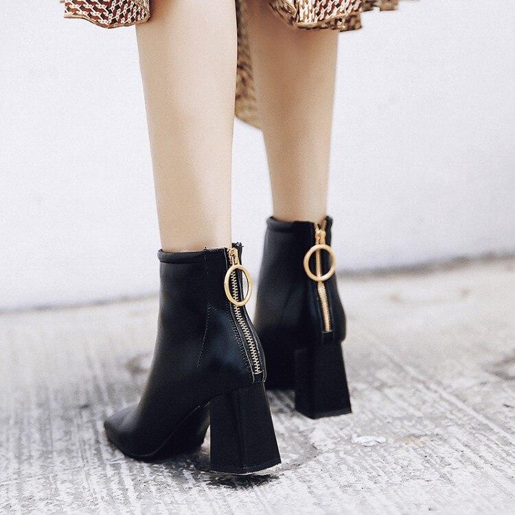 Las negro Pie Nude Invierno Grueso Botas {zorssar} Otoño E 2019 Tobillo Del Tamaño Dedo Alto Cuadrado Tacón Zapatos De Mujeres Para Cuero Gran 43 UqIgqBzw