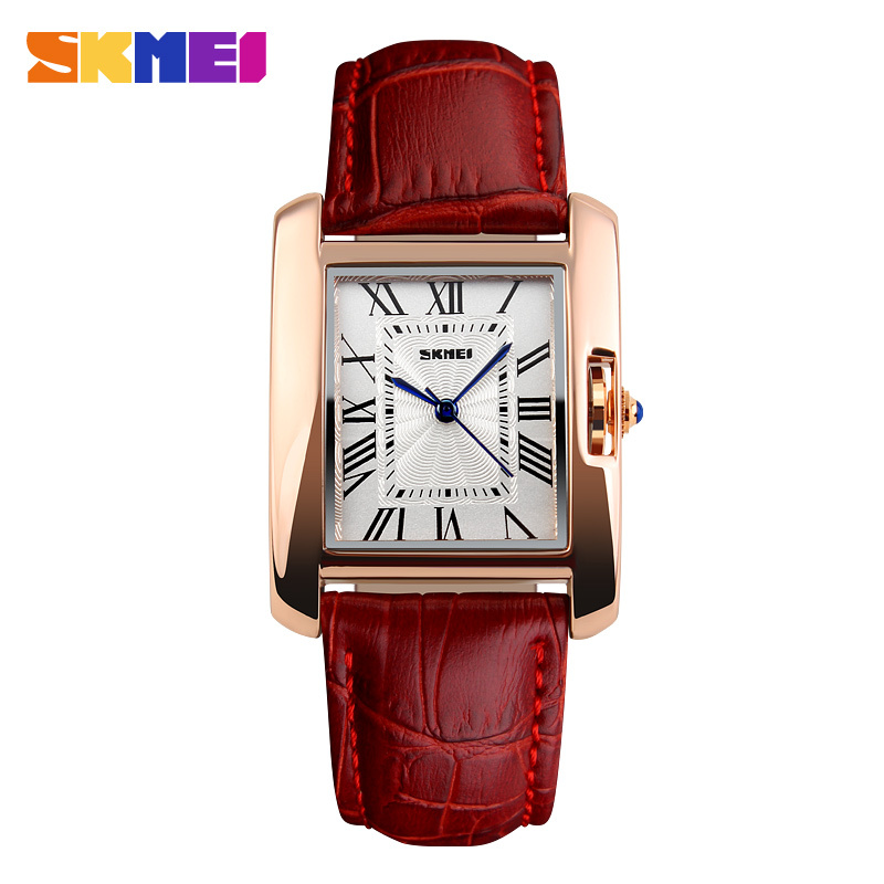 SKMEI Brand Women Fashion Casual Quartz Watch Elegant Retro Lady Watches Female Red Leather Strap Relogio Feminino Wristwatches rigardu fashion female wrist watch lovers gift leather band alloy case wristwatch women lady quartz watch relogio feminino 25