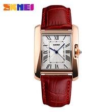 Skmei marca moda Casual reloj de cuarzo elegante Retro relojes de señora de cuero rojo de la correa Relogio Feminino de pulsera