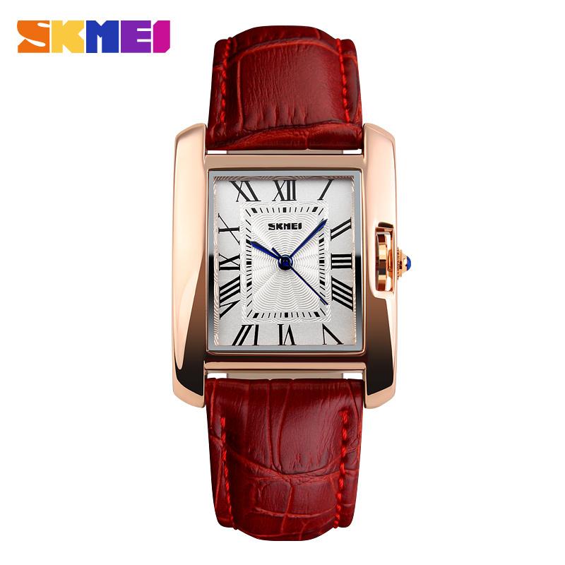 Prix pour Skmei marque femmes mode Casual Quartz montre élégante rétro dame montres femmes rouge bracelet en cuir Relogio Feminino montres