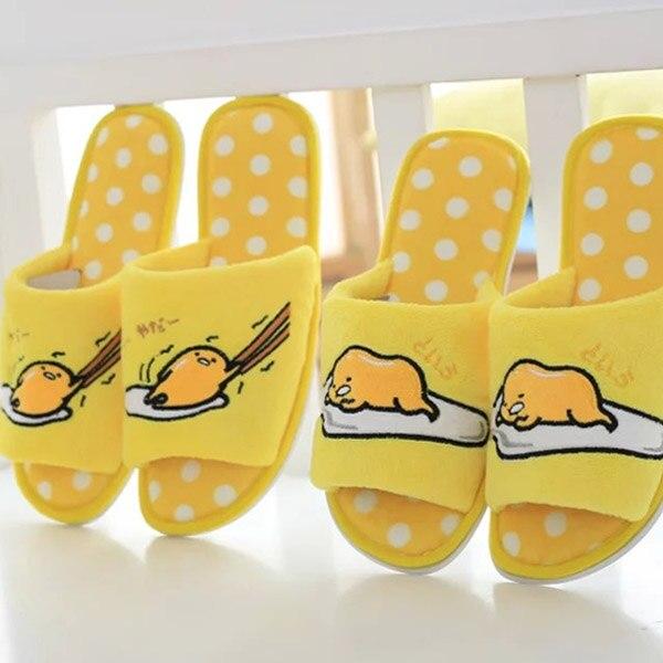 candice guo! new plush toy yellow egg gudetama exposed toe slippers household floor slipper lover girls boys birthday gift 1pc