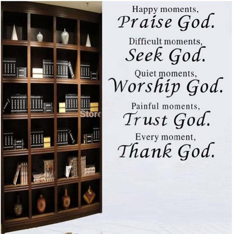 bible verš každý okamžik děkuji boha Wall nabídka nálepka obývací pokoj, náboženské Wall Samolepky domácí výzdoba doprava zdarma q0012