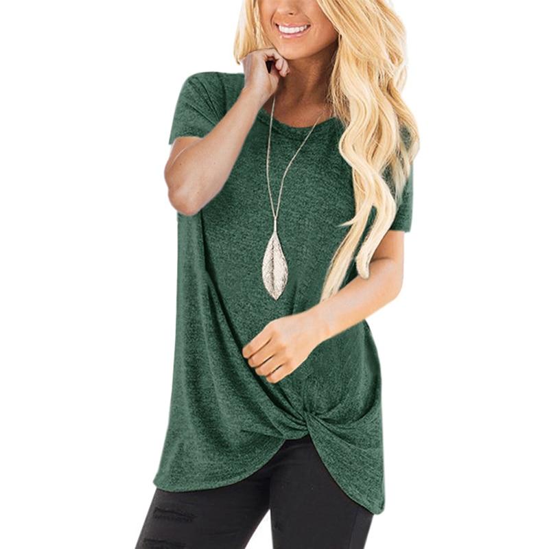 Women Tee Shirt Femme Graphic Tees Ladies Fashion Tshirt Tops Knot Cotton Blend Casual Loose T-Shirt Camisetas Mujer